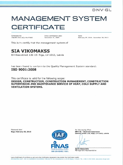 Certificates : VIKOMAKSS ventilation, air conditioning and service :